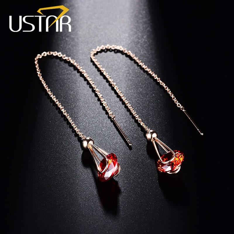 USTAR Red 2.0ct Zirkonia Ohrringe für Frauen Rose gold farbe lange kette Kristalle Ohrringe weiblichen Schmuck brincos