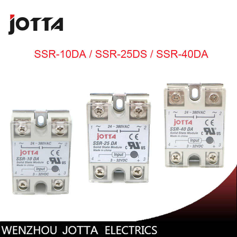 SSR -10DA/25DA/ 40DA DC control AC SSR white shell Single phase Solid state relay 3 phase solid state relay ssr dc ac 25da