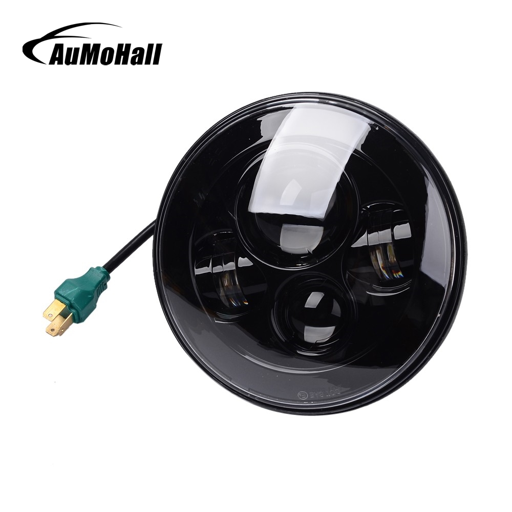 AuMoHall 7 Round 50W LED Headlights H4 Round LED Light Offroad Driving Lamp Hi Lo Beam for 12V 24V Truck