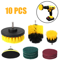 10PCS Duty Nylon Brushes Electric Drill Brush Combo Scrub Pads Tub Cleaner For Bathtubs Tile Grout Power Scrubber Cleaning