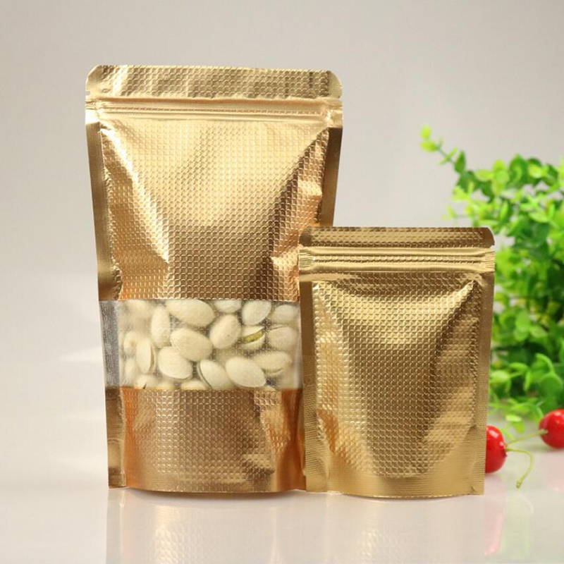 100Pcs Stand up Copper Gold Aluminum Foil Zip Lock Bag with Window, Metallic Plastic Packaging Pouch for Food Tea Candy Cookie