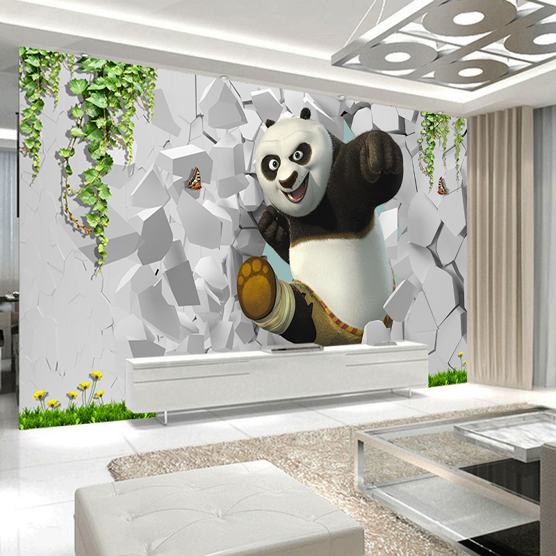 JiaSheMeiJu Mural Wallpaper Papel De Parede 3D Cartoon Animal Kung Fu Panda Children's Room Wall Paper Mural 3D Kid's Room Decor