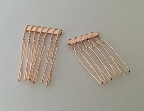 100pcs lot Pcs 22mmx35mm 6teeth shallow rose gold Hair Combs in Women 39 s Hair Accessories from Apparel Accessories