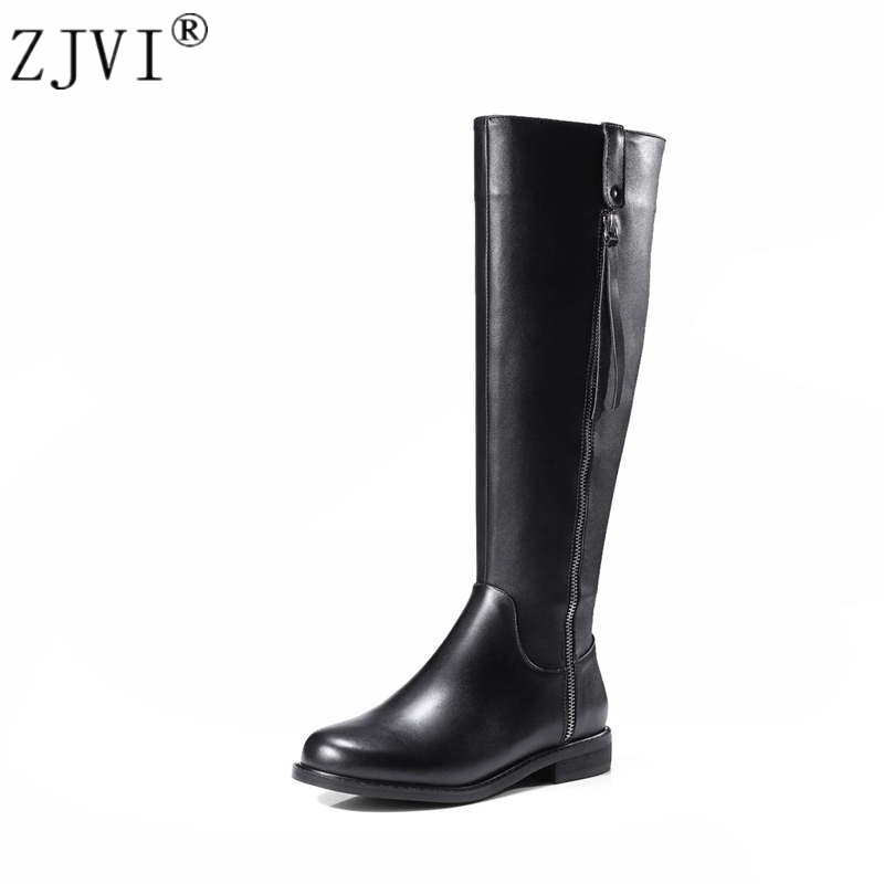 ZJVI women knee high boots woman autumn winter thigh high boots womens genuine leather PU boots ladies 2018 black roud toe shoes womens lace up over knee high suede women snow boots fashion zipper round toe winter thigh high boots shoes woman