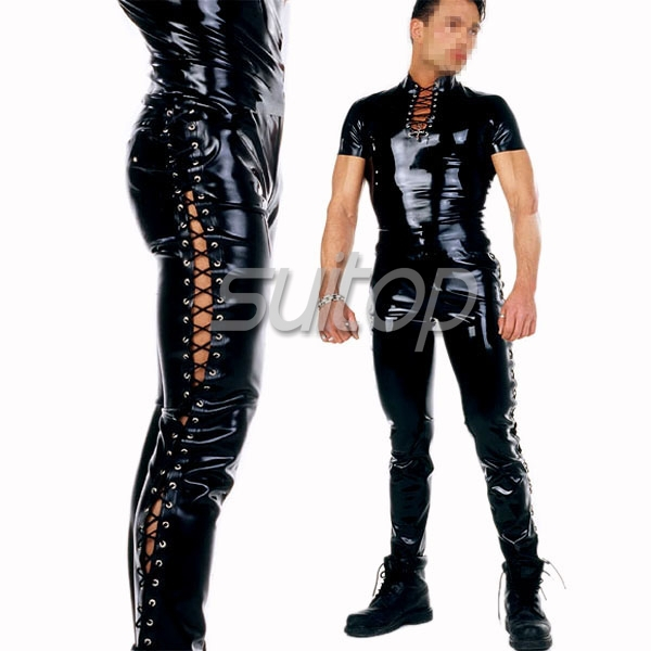 Suitop latex jeans sexy latex party dress for men