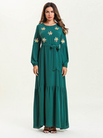 Abayas For Women Embroidery Long Sleeve Muslim Maxi Dress Green Arab Dubai Islamic Clothing Ladies Plus Size Fashion Robe 7552#