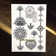 25 Styles Lotus Mandala Flower Temporary Tattoo Sticker Henna Waterproof Black Tattoo Paste Bracelet Body Art Fake Arabic Tatoos