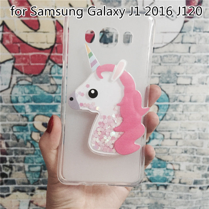 Luxury TPU Girls Case Coque for Samsung Galaxy J1 2016 J120 J1(6) SM-J120F/DS Unicorn Cover Dynamic Quicksand Phone Cases