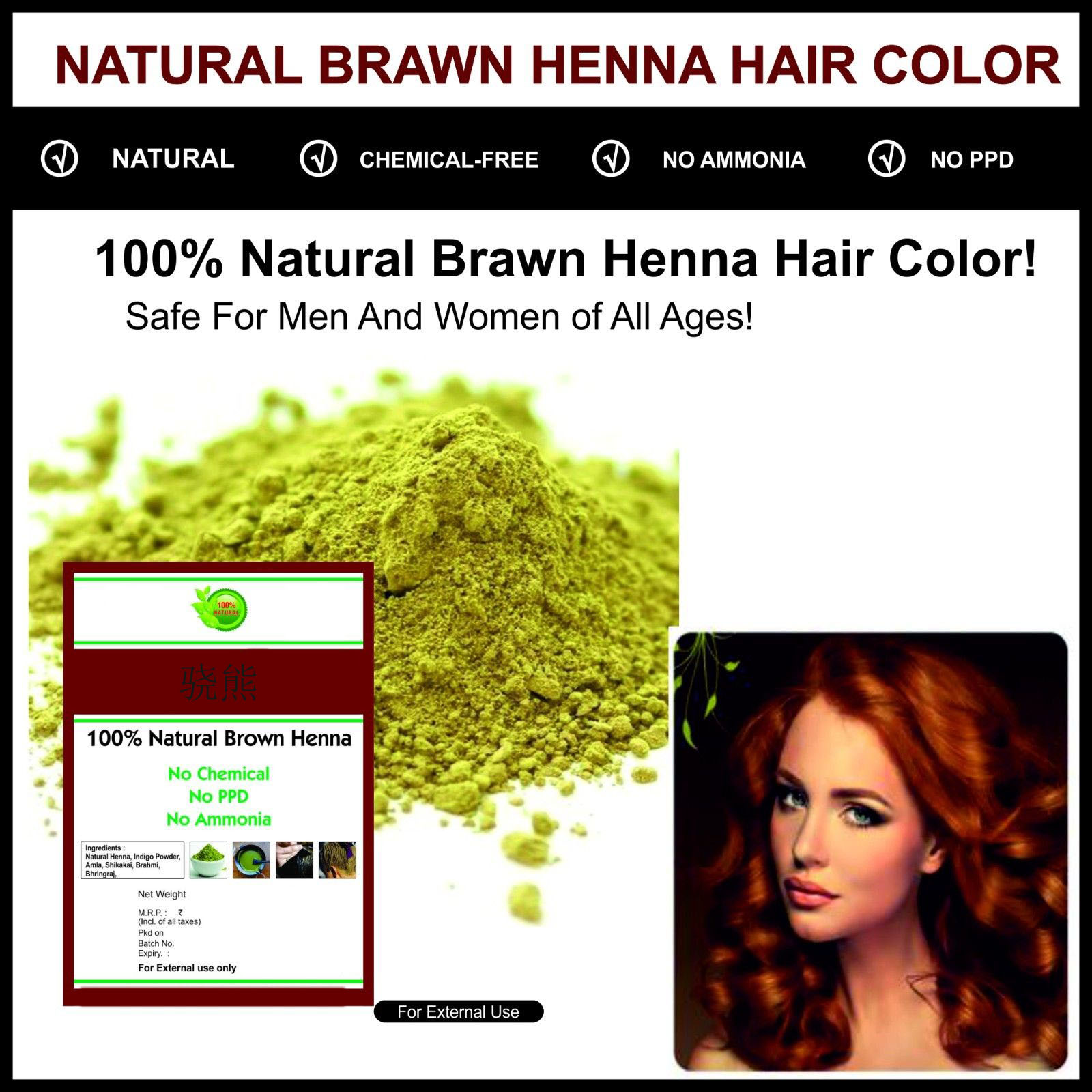 Good Quality Natural Dark Brown Henna Hair Colour Chemical Free
