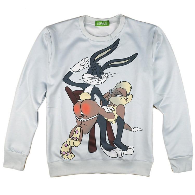 Hot men women harajuku hoody Bugs Bunny/Pokemon/Teddy Bear print 3d sweatshirt hoodies outdoors plus size S-XXL Drop Shipping