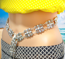 New Fashion Vintage Silver Waist Chain Flower Bells Metal Tassel  Belly Chains harm Belt Body Jewelry for Hot Women