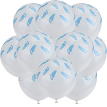 10pcs 12inch Blue Footprint Baby Shower Balloons Decors He OR She Born Happy Birthday Party Feet Latex Supplies Fkk4