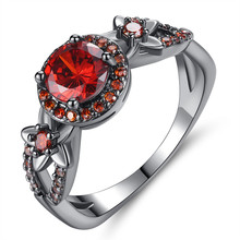 New Vintage Red Stone Black Gun Rings Fashion Cubic Zirconia Engagement Ring for Women Jewelry Gift