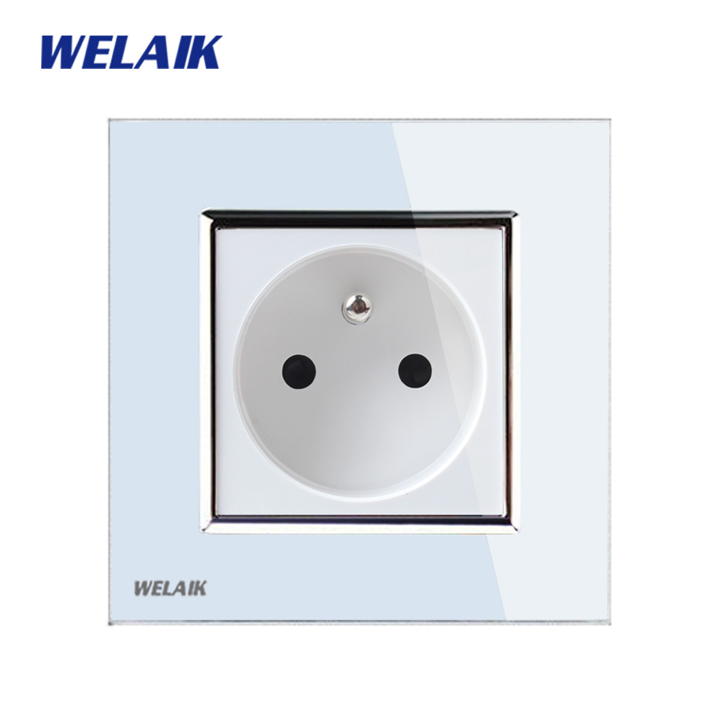 все цены на WELAIK EU Wall Socket Wall Power Socket New Outlet French Standard White Crystal Glass Panel AC 110~250V 16A A18FW