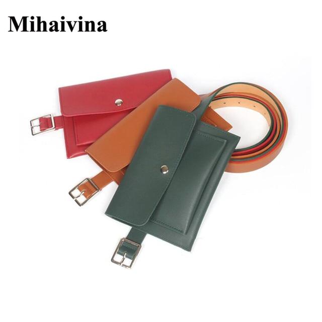 Mihaivina Women Waist Bag Simple Fanny Packs Leather Money Belt Bags Female Pouch Phone Bag Waist Pack Fit iphone XS/Keys/Cards