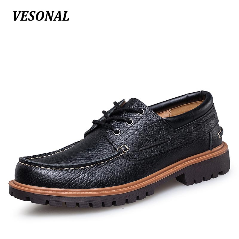 VESONAL Low Top Luxury Men Shoes Casual Oxford Genuine Leather Classic Male Elegant Office Business Dress Shoes Mens SD5087 top quality fashion formal mens dress shoes genuine leather black luxury wedding shoes men flats office for male oxford shoes