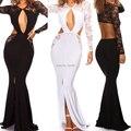Mujeres Sexy Negro Blanco Sirena Vestido Maxi Largo Sin Respaldo de Split Recorte de Manga Larga Vestido de Noche Del Partido Del Club Del Verano Lleva vestido