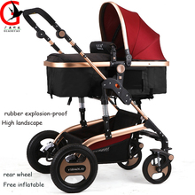 Luxury Brand Baby Stroller Folding Baby Carriage High Landscape Sit Lie for Newborn Infant Four Wheels