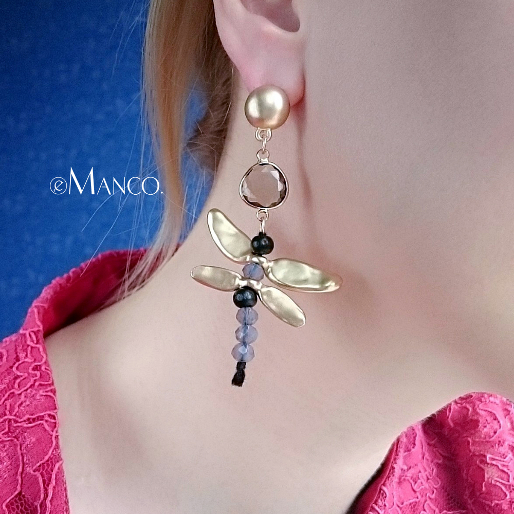 eManco Trendy Dragonfly Hanging Dangle Drop Earrings Gifts for Women Zinc Alloy Earrings Fashion Jewelry New Year Gifts skeleton hands style zinc alloy earrings golden pair