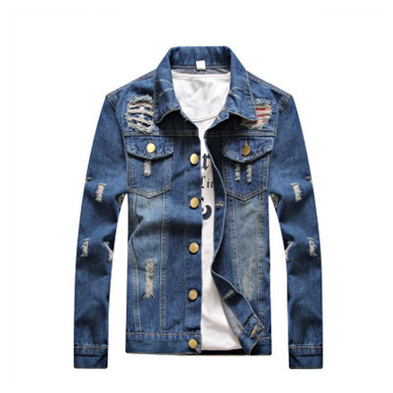 Solid Casual Slim Mens Denim Jacket Plus Siz M- 5XL Jacket Men High Quality Cowboy Mens Jean Jacket Chaqueta Hombre