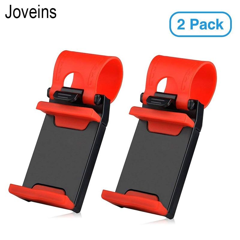 2 Pack Car Phone Holder Mobile Phone Holder Mount Clip Buckle Socket Hands Free On Car Steering Wheel For Smartphone 5.5inch