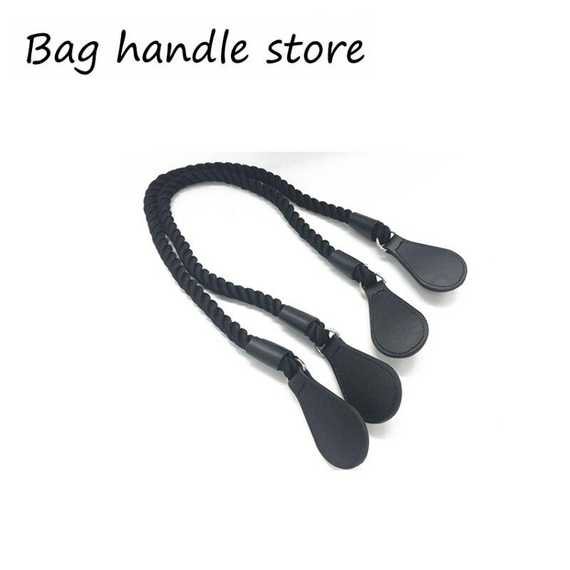 1 par 65 cm preto corda e saco de lidar com gotas preto alças para obag