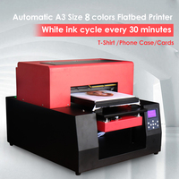 8 color Automatic T shirt Printer A3 size Flatbed printer for Digital Custom DIY Garment Printing