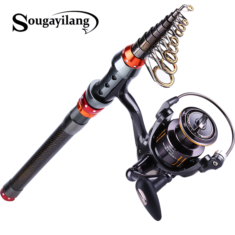 Sougayilang 1.8M-3.6M Carbon Telescopic Fishing Rod With Spinning Reel Set Saltwater Freshwater Kits Fishing Tackle Pesca