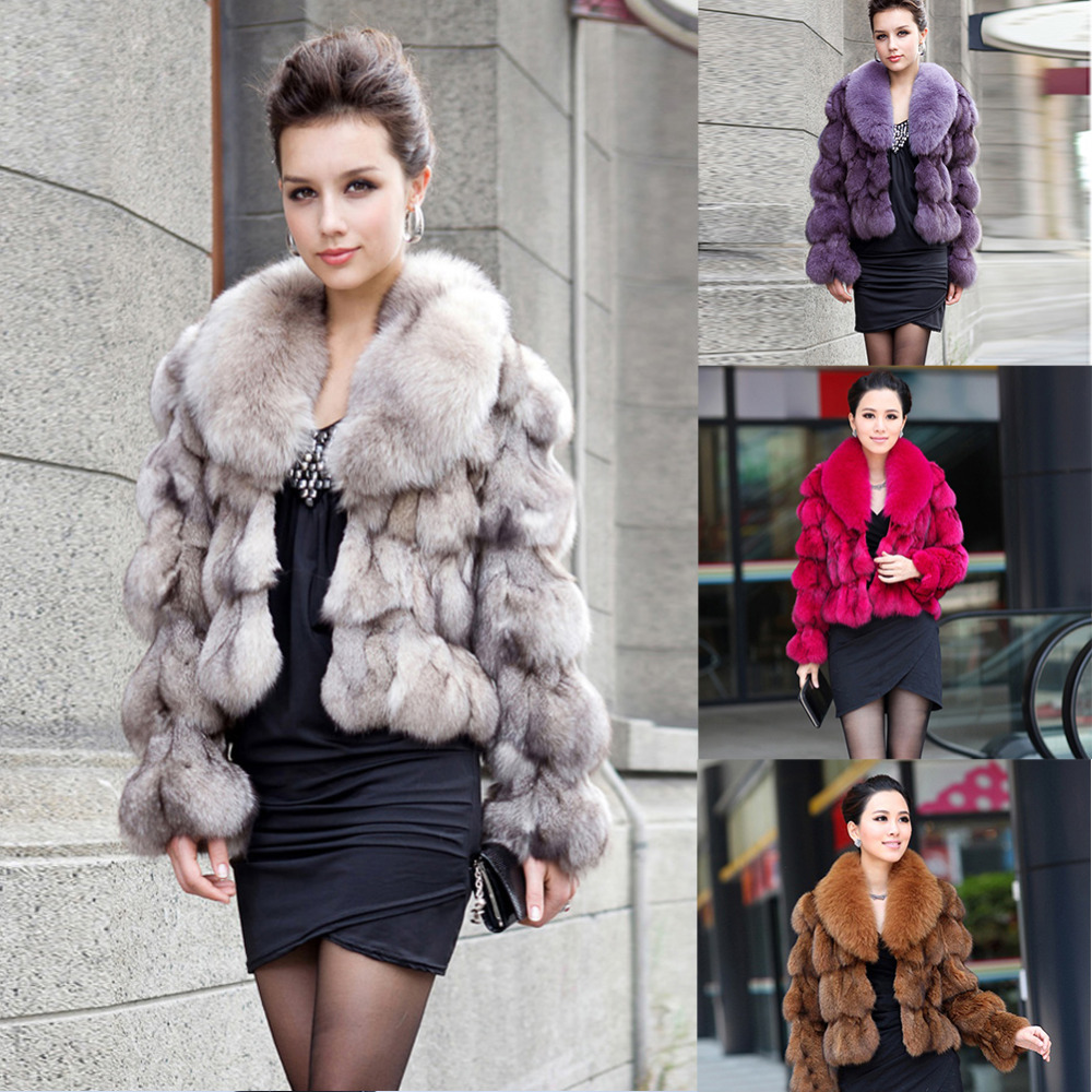 ETHEL ANDERSON 100% Genuine Real Fox Fur Jackets & Coats With Fox Fur Collar For Luxury Vintage Ladies Short Fox Fur Outerwear