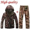 Alta qualidade TAD V 4.0 homens Outdoor caça Camping impermeável Windproof poliéster casacos com capuz Jacket TAD softshell Jacket + pants