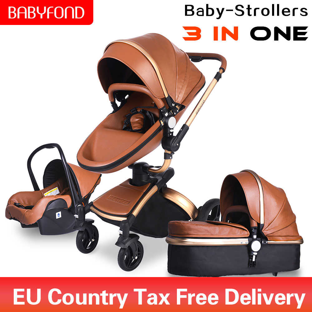 Universal Car Seat Stroller Frame High End Baby Stroller Pu Leather Pro 3 In 1 Baby Carriage