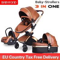 leather baby brand Baby Stroller High View 3 in 1 Baby Carriage and free gift baby pram Brand Aulon Babyfond beb