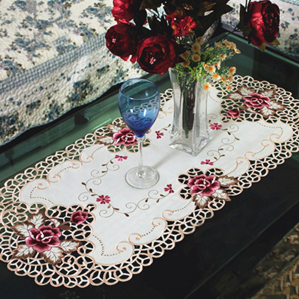 yazi bordado vintage rose cutwork mantel mesa ovalada cubierta de la boda decoracin x cm