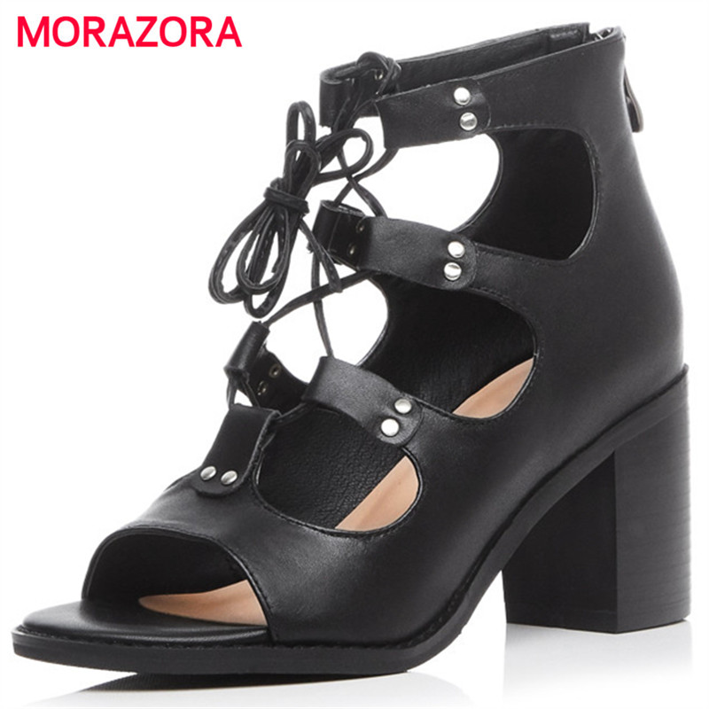 MORAZORA Top quality genuine leather shoes zipper black high square heels shoes open-toed women sandals summer shoes party
