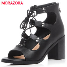 MORAZORA Top quality genuine leather shoes zipper black high square heels shoes open-toed women sandals summer shoes party(China)
