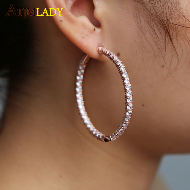 297c6d8a3 2018 New Big Hoop micro pave cz circle Earrings 100% 925 Sterling Silver  Party Eternity Earring girl women fashion cz Earring