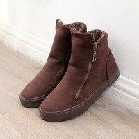 Dwayne New Winter Plus Velvet Canvas Shoes Female Korean Version Of The Zipper Casual Flat Cotton