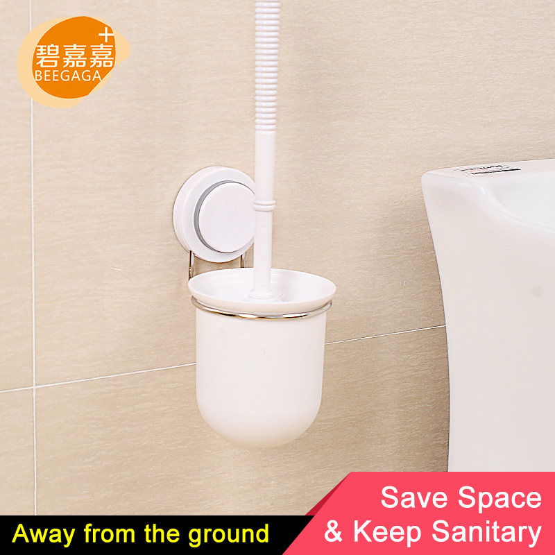 Beegaga Powerful Suction Wall Mounted Toilet Brush Holder Stainless Steel Rack Plastic Cleaning