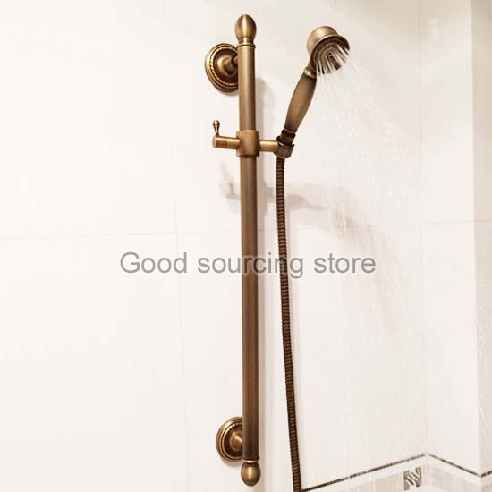 64cm antique brass lifing sliding bar with shower head hose64cm antique brass lifing sliding bar with shower head hose