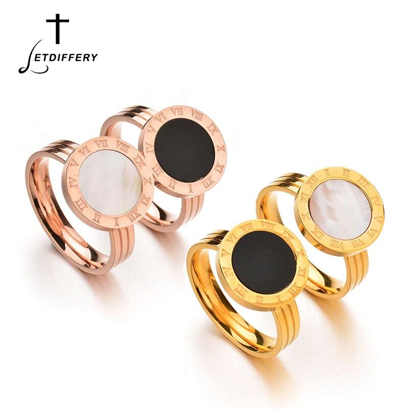 Letdiffery marque chiffres romains anneau de coquille en acier inoxydable Style coréen anneau pour femmes dames filles couleur or Rose Bague de doigt