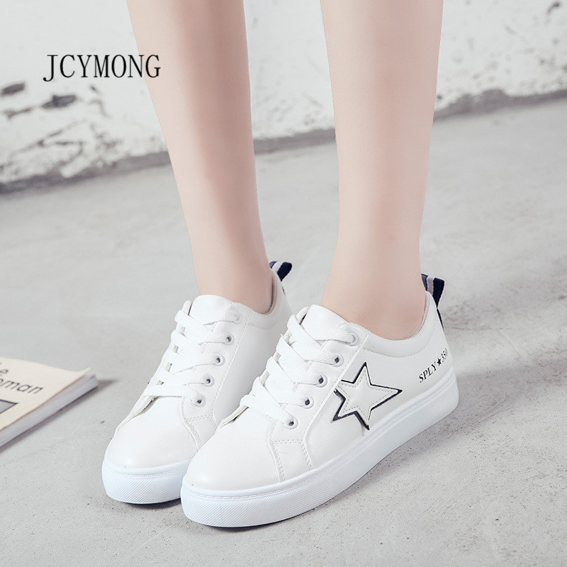 JCYMONG 2018 New Women Black Green Ping Star Sneakers Casual Shoes PU Leather Lace up Sewing Fashion Girl Fashion Shoes
