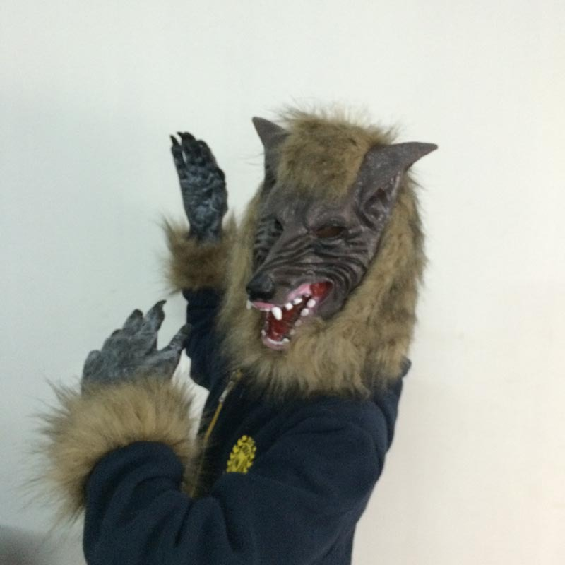Halloween cosplay costume party cosplay carnaval kigurumi costume mask horor props wolf mask +gloves latex elastic mask