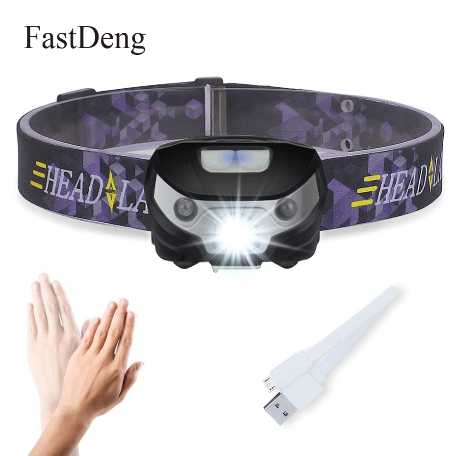 mini recarregavel levou farol 3000lm body motion sensor de luz cabeca da tocha farol lanterna camping