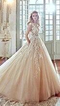 2017 Vestido De Noiva Charming Applique Sleeveless Wedding Dress  with Sashes A Line Floor Length Wedding Gowns Robe De Marriage