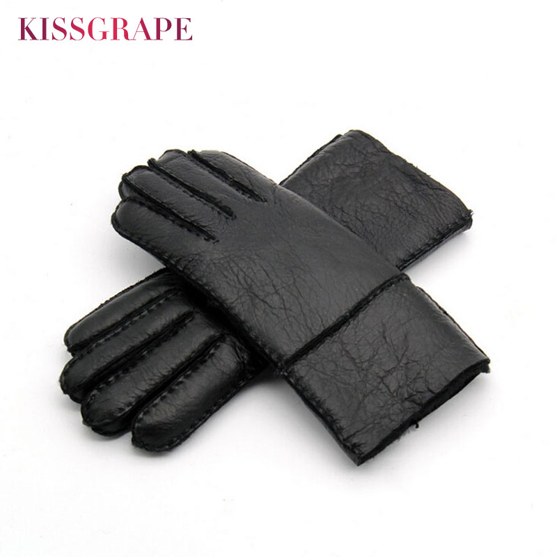 Russian Winter Women's Genuine Leather Warm Gloves Ladies Sheep Fur Wool Lined Gloves Youth Thick Windproof Mitten Guantes Black