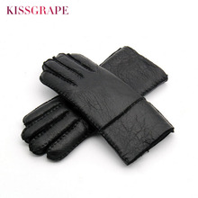 Russian Winter Womens Genuine Leather Warm Gloves Ladies Sheep Fur Wool Lined Youth Thick Windproof Mitten Guantes Black