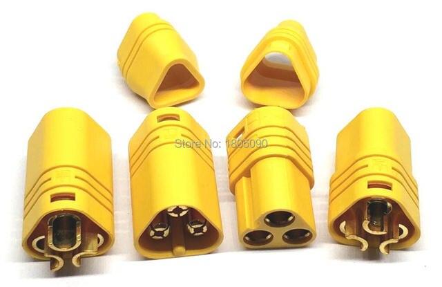 10 pares MT60 enchufe amarillo tres fases conector polar 3,5mm macho y hembra para RC ESC a Motor /10 pares = 10 hombres + 10 mujeres