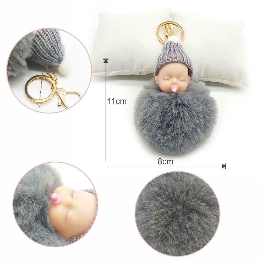 Mamilo Bebê Carro Chaveiro KeyringNipple Boneca Chaveiros Falsa Pele De Coelho Pompom Bola da Chave de Cadeia Pingente de Dormir Baby Doll Keychain