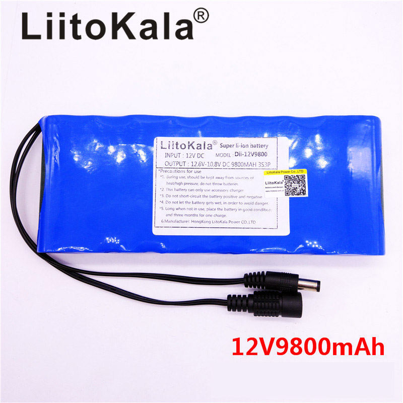 HK LiitoKala <font><b>12V</b></font> 9800mAh <font><b>18650</b></font> DC <font><b>12V</b></font> 12.6V Super Rechargeable <font><b>Pack</b></font> for CCTV camera video <font><b>Battery</b></font> Portable image