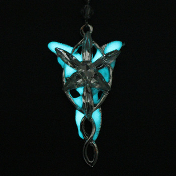 MQCHUN Hot Movie Jewelry Elves Princess Aragorn Arwen Evenstar the Lord of the twilight Pendant Luminous Necklace Glow In Dark image